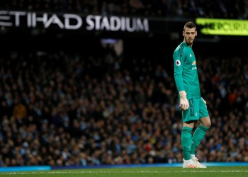 FILE PHOTO - Premier League - Manchester City v Manchester United - Etihad Stadium, Manchester, Britain - November 11, 2018 Manchester United's David de Gea looks dejected after Sergio Aguero scored Manchester City's second goal REUTERS/Darren Staples