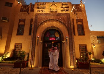 FILE PHOTO: Visitors are seen at the entrance of Al Koot Heritage Hotel in Al Ahsa, Saudi Arabia, July 8, 2018. REUTERS/Hamad I Mohammed