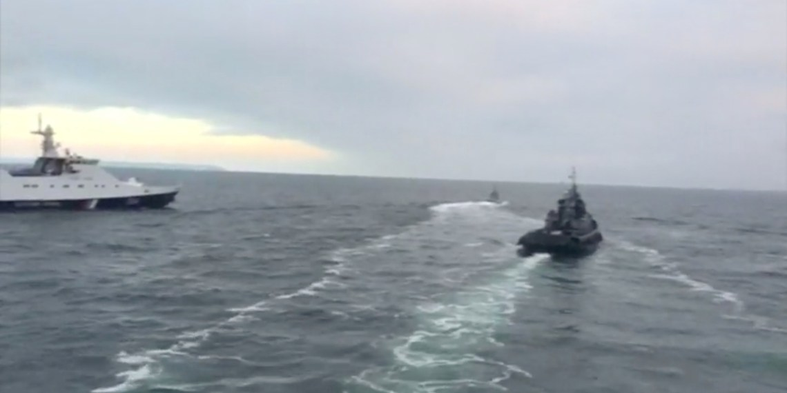 Ukrainian ships are detained in Kerch Strait in this still image from video released by Russian Federal Security Service November 27, 2018. Russian Federal Security Service/Handout via REUTERS