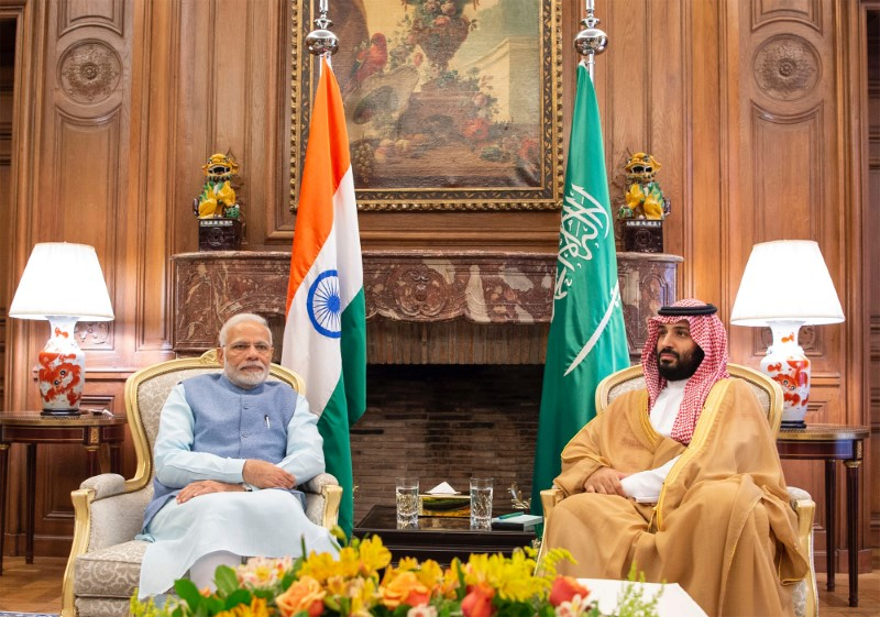 Saudi Arabia's Crown Prince Mohammed bin Salman meets with India's Prime Minister Narendra Modi in Buenos Aires, Argentina, November 29, 2018. Picture taken November 29, 2018. Bandar Algaloud/Courtesy of Saudi Royal Court/Handout via REUTERS