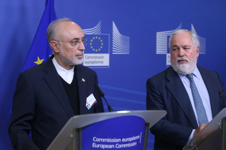 Vice-President of the Islamic Republic of Iran and Head of the Atomic Energy Organisation of Iran (AEOI), Ali Akbar Salehi (L) and Miguel Arias Canete (R), Commissionner of the European Commission in charge of Climate Action and Energy. (AFP)