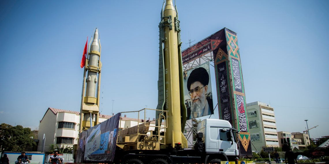 FILE PHOTO: A display featuring missiles and a portrait of Iran's Supreme Leader Ayatollah Ali Khamenei is seen at Baharestan Square in Tehran, Iran September 27, 2017. Nazanin Tabatabaee Yazdi/TIMA via REUTERS