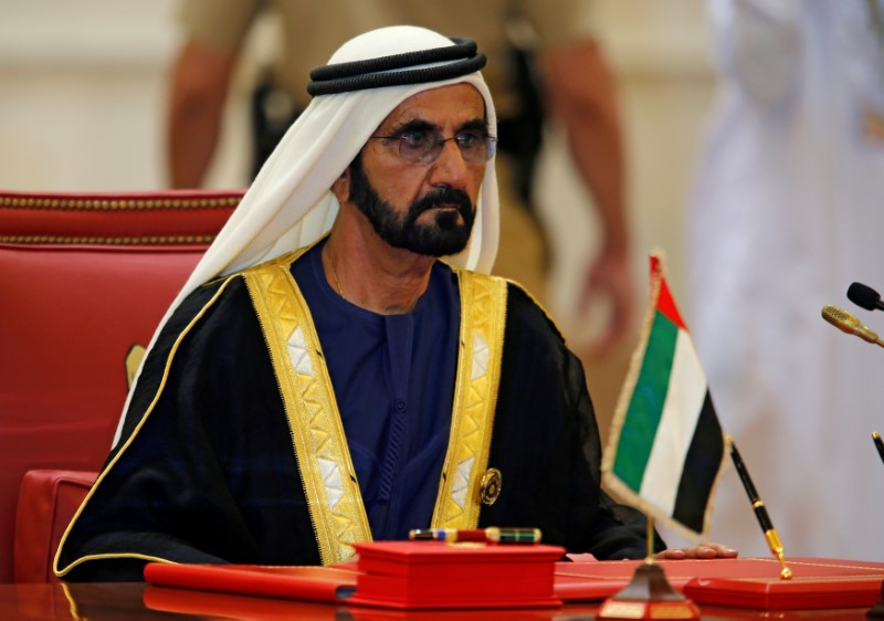 FILE PHOTO: United Arab Emirates Prime Minister, Mohammed bin Rashid Al Maktoum attends the Gulf Cooperation Council's (GCC) 37th Summit in Manama, Bahrain, December 6, 2016. REUTERS/Hamad I Mohammed