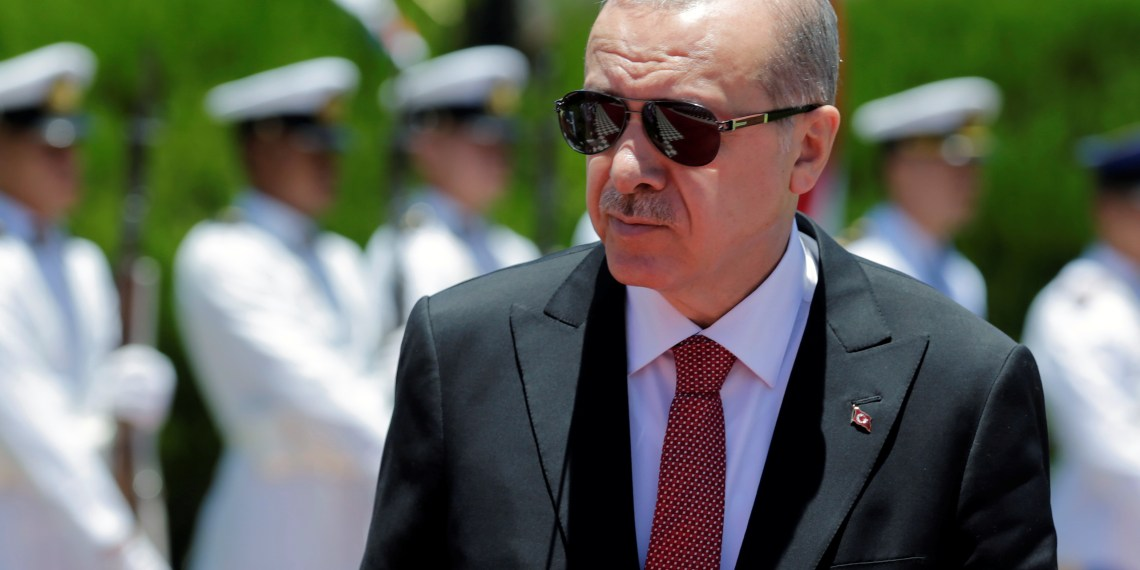 FILE PHOTO: Turkish President Tayyip Erdogan attends a welcoming ceremony at the Presidential Palace in Asuncion, Paraguay December 2, 2018. REUTERS/Jorge Adorno