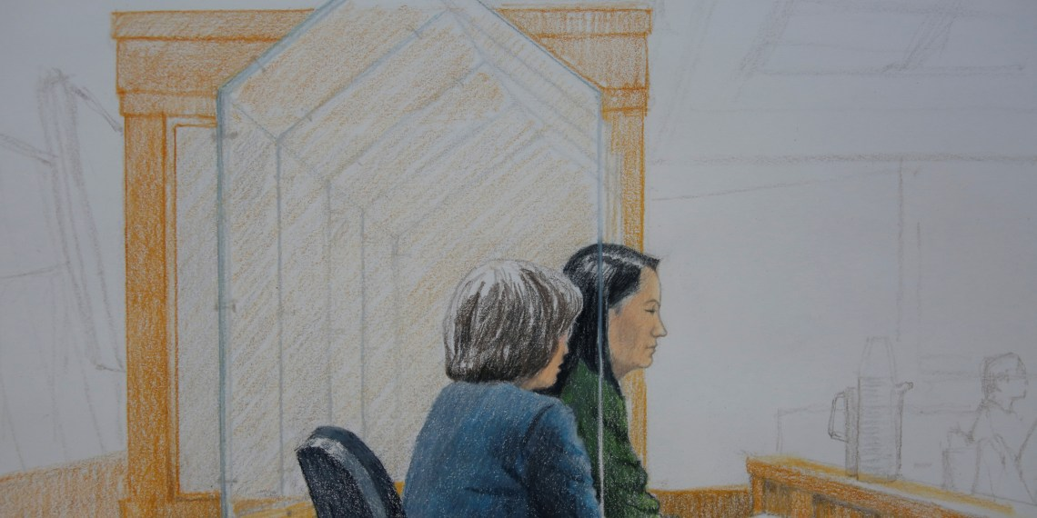 Huawei CFO Meng Wanzhou, who was arrested on an extradition warrant, appears at her B.C. Supreme Court bail hearing in a drawing in Vancouver, British Columbia, Canada December 7, 2018. REUTERS/Jane Wolsak