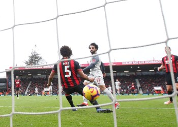 Soccer Football - Premier League - AFC Bournemouth v Liverpool - Vitality Stadium, Bournemouth, Britain - December 8, 2018 Liverpool's Mohamed Salah scores their fourth goal Action Images via Reuters/Matthew Childs