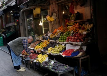 FILE PHOTO: A vendor displays fruits in his shop in a local market in central Istanbul, Turkey October 9, 2018. REUTERS/Murad Sezer