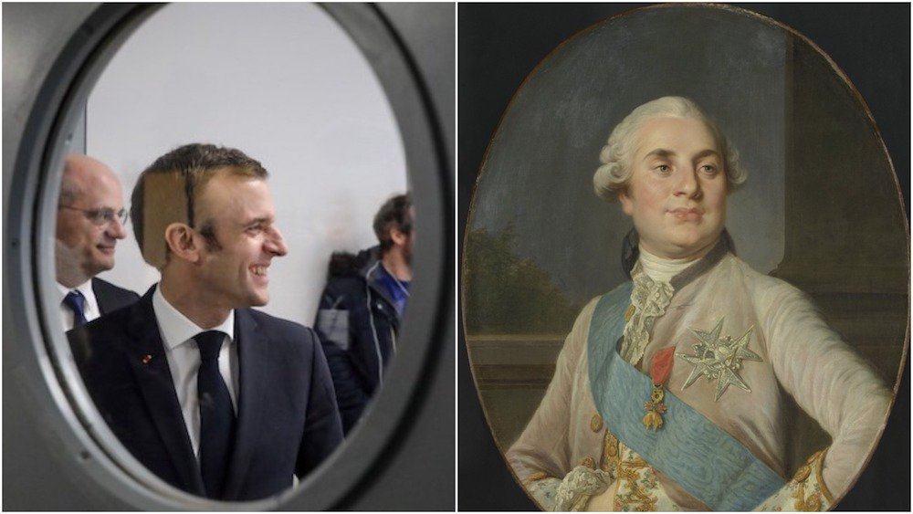 French President Emmanuel Macron (L) and Louis XVI, King of France, by Joseph Siffrede Duplessis, c. 1777-89. (AFP & Shutterstock)