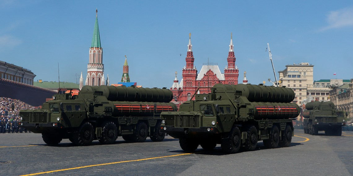 Russian servicemen drive S-400 missile air defence systems during the Victory Day parade, marking the 73rd anniversary of the victory over Nazi Germany in World War Two, at Red Square in Moscow, Russia May 9, 2018. REUTERS/Sergei Karpukhin