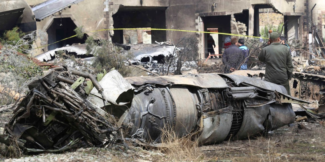 Wreckage is seen of a Boeing 707 military cargo plane which crashed on the west of the Iranian capital, near Fath airport, near Karaj, Iran, January 14, 2019. Abbas Shariati/Tasnim News Agency via REUTERS