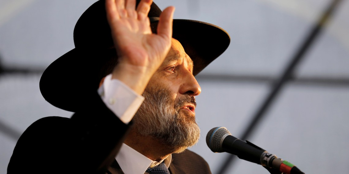 FILE PHOTO: Israeli Interior Minister Aryeh Deri speaks during an annual pilgrimage to the gravesite of Moroccan-born sage and Jewish mystic Rabbi Yisrael Abuhatzeira, also known as the Baba Sali, on the anniversary of his death in the southern town of Netivot, Israel January 9, 2019 REUTERS/Amir Cohen