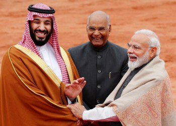 Saudi Arabia's Crown Prince Mohammed bin Salman is greeted by India's Prime Minister Narendra Modi and President Ram Nath Kovind during his ceremonial reception at the forecourt of Rashtrapati Bhavan presidential palace in New Delhi, India, February 20, 2019. REUTERS/Adnan Abidi