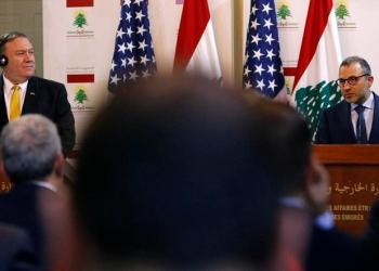 Lebanese Foreign Minister Gibran Bassil (R) gives a joint statement with visiting US Secretary of State Mike Pompeo in Beirut on March 22, 2019. (AFP)
