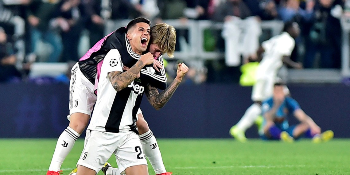 FILE PHOTO: Soccer Football - Champions League - Round of 16 Second Leg - Juventus v Atletico Madrid - Allianz Stadium, Turin, Italy - March 12, 2019 Juventus' Joao Cancelo celebrates after the match REUTERS/Massimo Pinca/File Photo