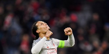 FILE PHOTO: Soccer Football - Champions League - Round of 16 Second Leg - Bayern Munich v Liverpool - Allianz Arena, Munich, Germany - March 13, 2019  Liverpool's Virgil van Dijk celebrates at the end of the match   REUTERS/Andreas Gebert