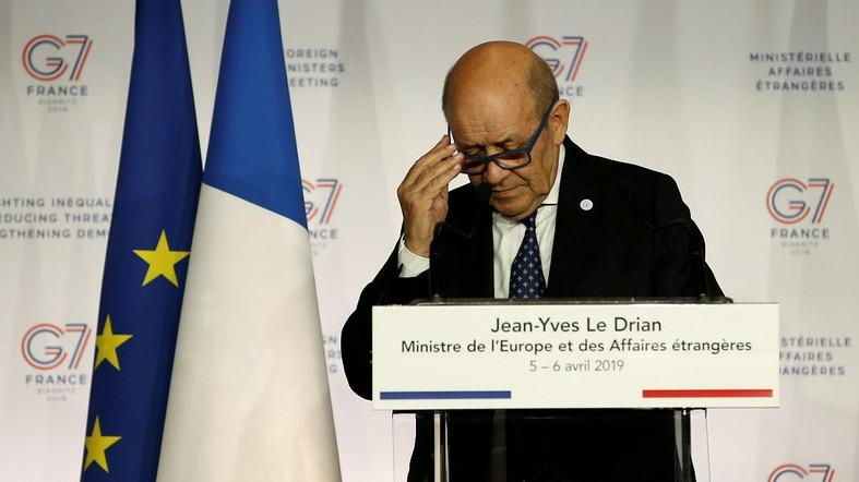 French Foreign Minister Jean-Yves Le Drian attends a news conference during the Foreign ministers of G7 nations meeting in Dinard, France, April 6, 2019. (Reuters)