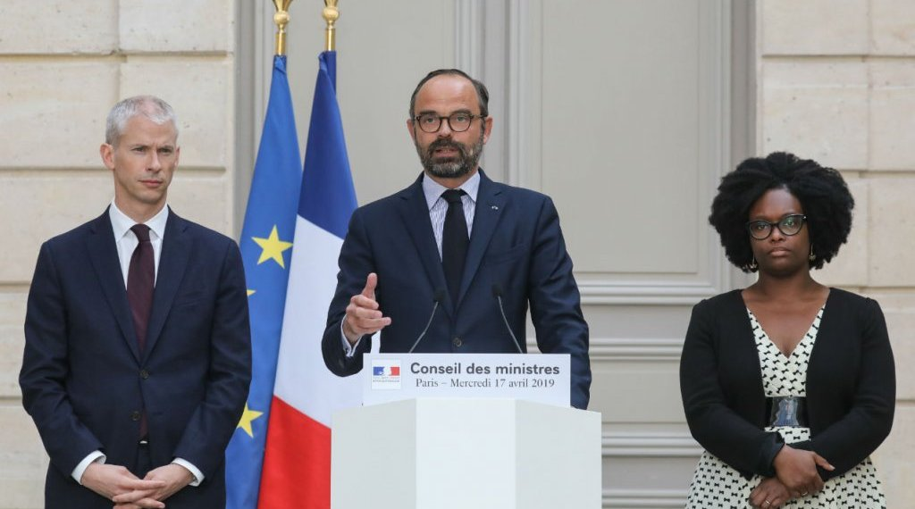 Ludovic Marin, AFP | French Culture Minister Franck Riester, French Prime Minister Edouard Philippe and French Junior Minister and Government's spokesperson Sibeth Ndiaye give a press conference at the Elysee Presidential palace on April 17, 2019 in Paris
