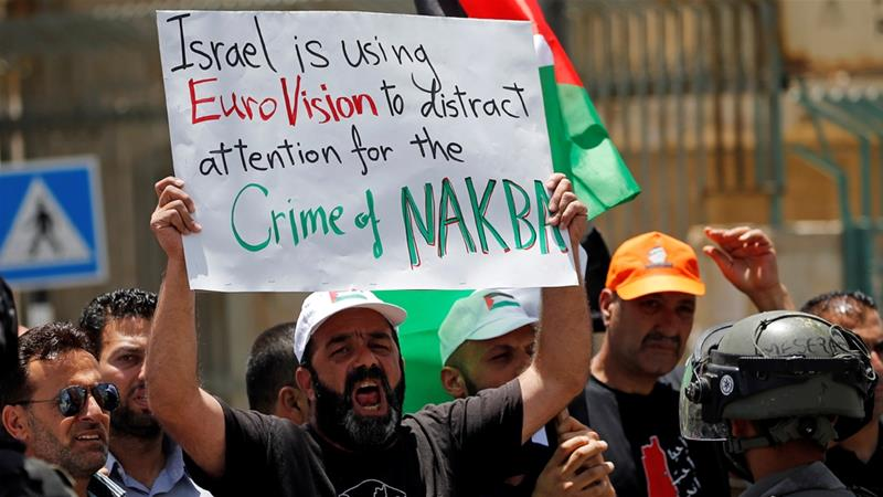 Palestinians in Bethlehem protested against the Eurovision song contest hosted by Israel [Mussa Qawasma/Reuters]