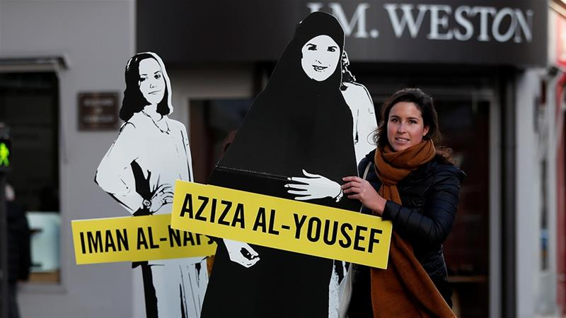 Demonstrators from Amnesty International stage protest on International Women's day to urge Saudi authorities to release jailed women's rights activists [File: Benoit Tessier/Reuters]