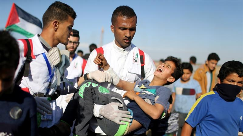Gaza's health ministry says 51 Palestinians were wounded on Friday [Ibraheem Abu Mustafa/Reuters]