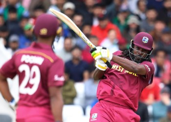 West Indies' Chris Gayle plays a shot against Pakistan during the Cricket World Cup match at Trent Bridge in Nottingham, England. (AP Photo)