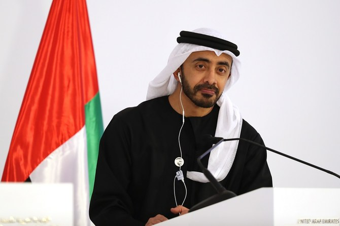 Foreign Affairs Ministers of the United Arab Emirates Abdullah bin Zayed Al-Nahyan speaks during a joint presser with his Russian counterpart in Abu Dhabi on March 6, 2019. (Photo by KARIM SAHIB / AFP)