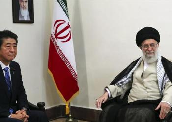 The two leaders met as Abe (left) is attempting to help deescalate tensions between Iran and the US [Office of the Iranian Supreme Leader via AP Photo]