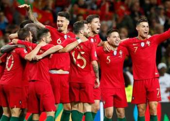 Portugal players celebrate at the Dragao stadium in Porto, Sunday, June 9, 2019. (AP)