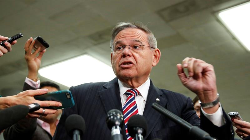 Senator Menendez speaks to the media after a closed briefing for senators about the latest developments related to the murder of Khashoggi [File: Joshua Roberts/Reuters]