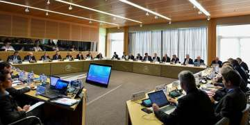 A UEFA Executive Committee meeting in progress. (File photo: AFP)
