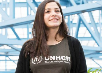 Syrian refugee Yusra Mardini, the Olypmpia swimmer, escaped conflict in her homeland. A year later she famously competed at the Rio Olympics. (Photo/UNHCR)