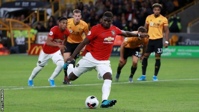 Pogba missed the penalty that he had won in the 68th minute against Wolves