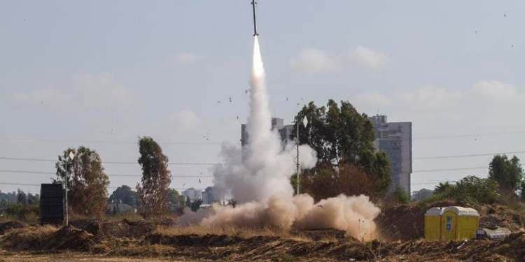 File photo of an Iron Dome air defense system fires to intercept a rocket from the Gaza Strip in Tel Aviv, Israel. (AP)