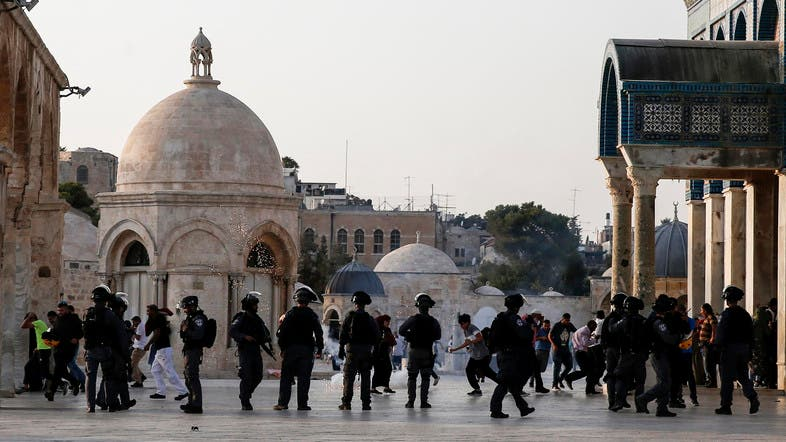 Dozens of Palestinians were injured in al-Aqsa Mosque compound on Sunday when clashes erupted between worshippers and Israeli forces. (File photo: AFP)