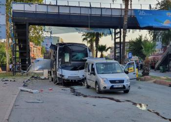 A bus carrying police is seen after hit by a bomb attack in Adana, Turkey, September 25, 2019. Gokhan Keskinci/Demiroren News Agency (DHA) via REUTERS