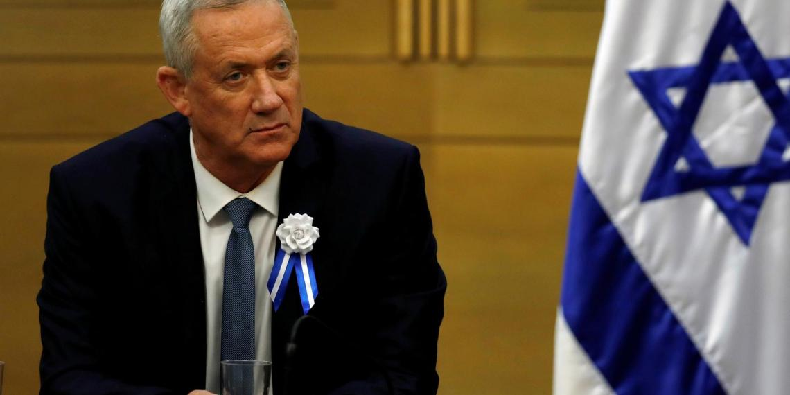 FILE PHOTO: Benny Gantz, leader of the Blue and White party looks on during his party faction meeting at the Knesset, Israel's parliament, in Jerusalem October 3, 2019. REUTERS/Ronen Zvulun/File Photo