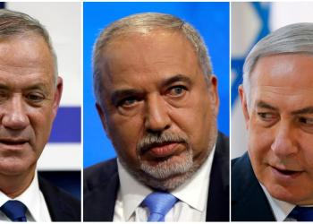 FILE PHOTO: A combination picture shows leader of Blue and White party, Benny Gantz in Rosh Ha'ayin, Israel September 17, 2019, Avigdor Lieberman, head of Yisrael Beitenu party in Tel Aviv, Israel September 5, 2019 and Israeli Prime Minister Benjamin Netanyahu in the Jordan Valley, in the Israeli-occupied West Bank September 15, 2019. REUTERS/Ronen Zvulun, Nir Elias, Amir Cohen/File Photo