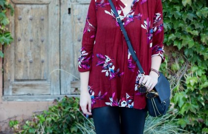 Zaful Floral Print Tunic & Faux Leather Leggings