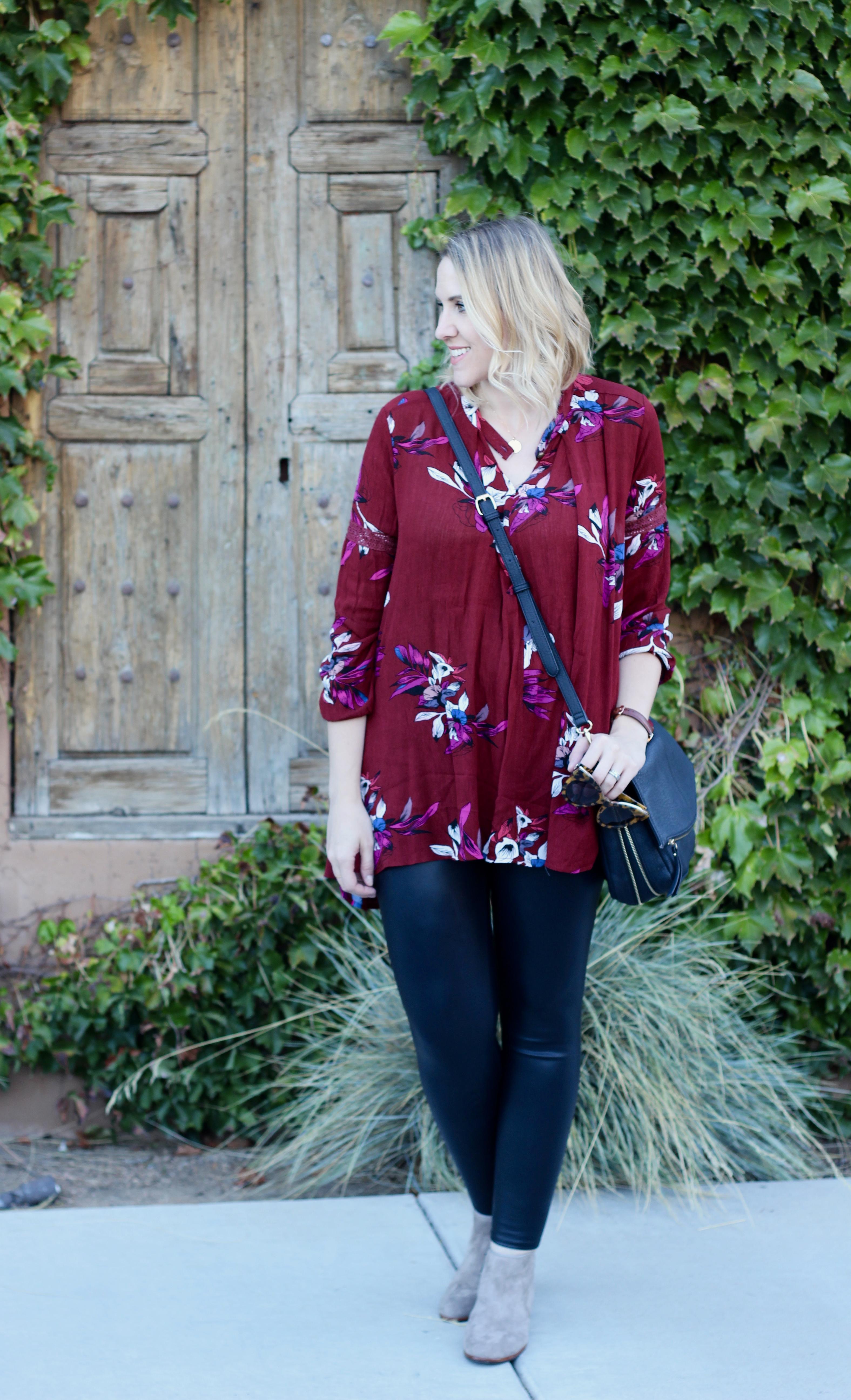 zaful floral print tunic #floralprint #fauxleatherleggings #falloutfit