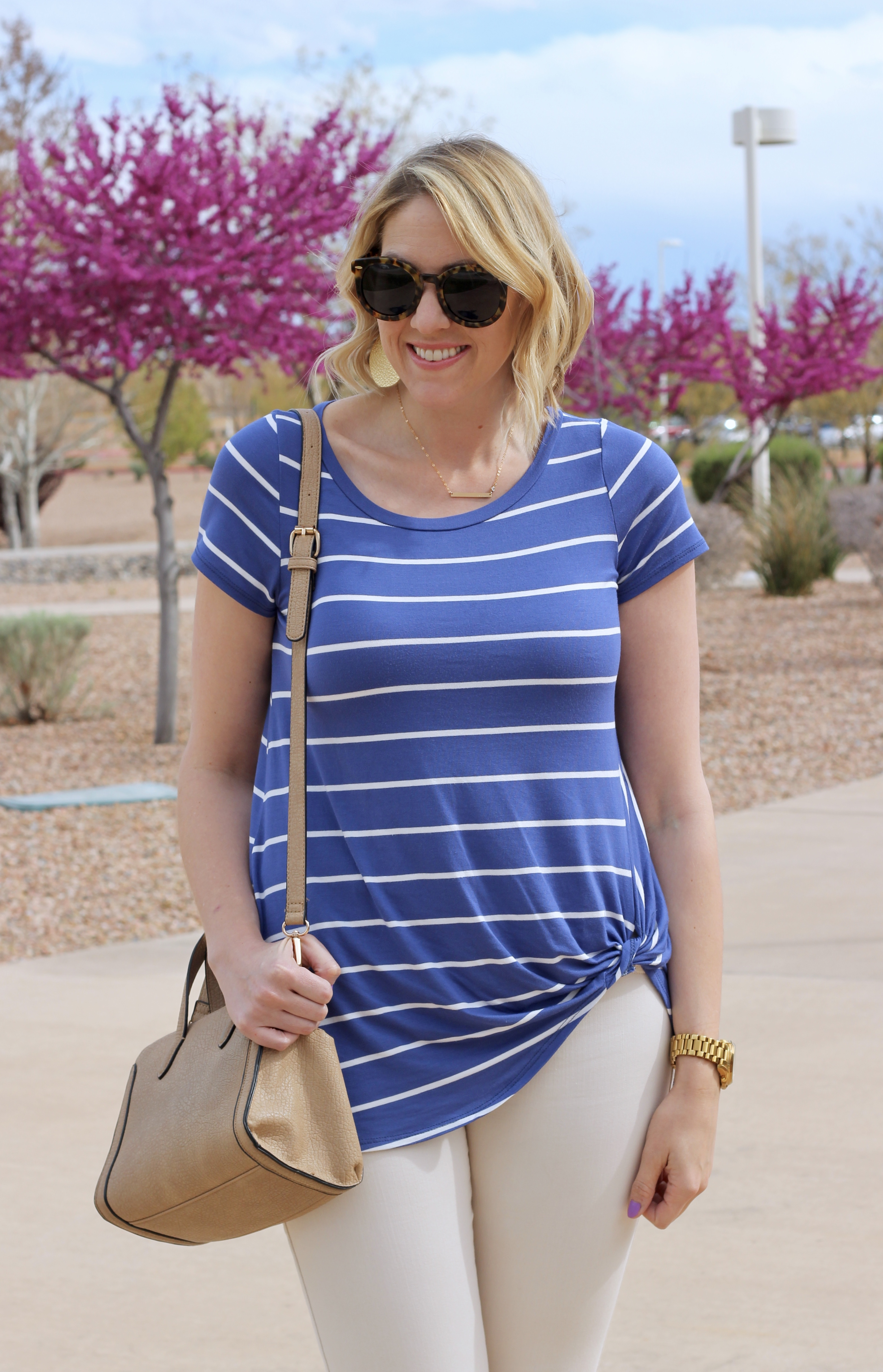 the perfect knot tie striped tee from Pink Blush