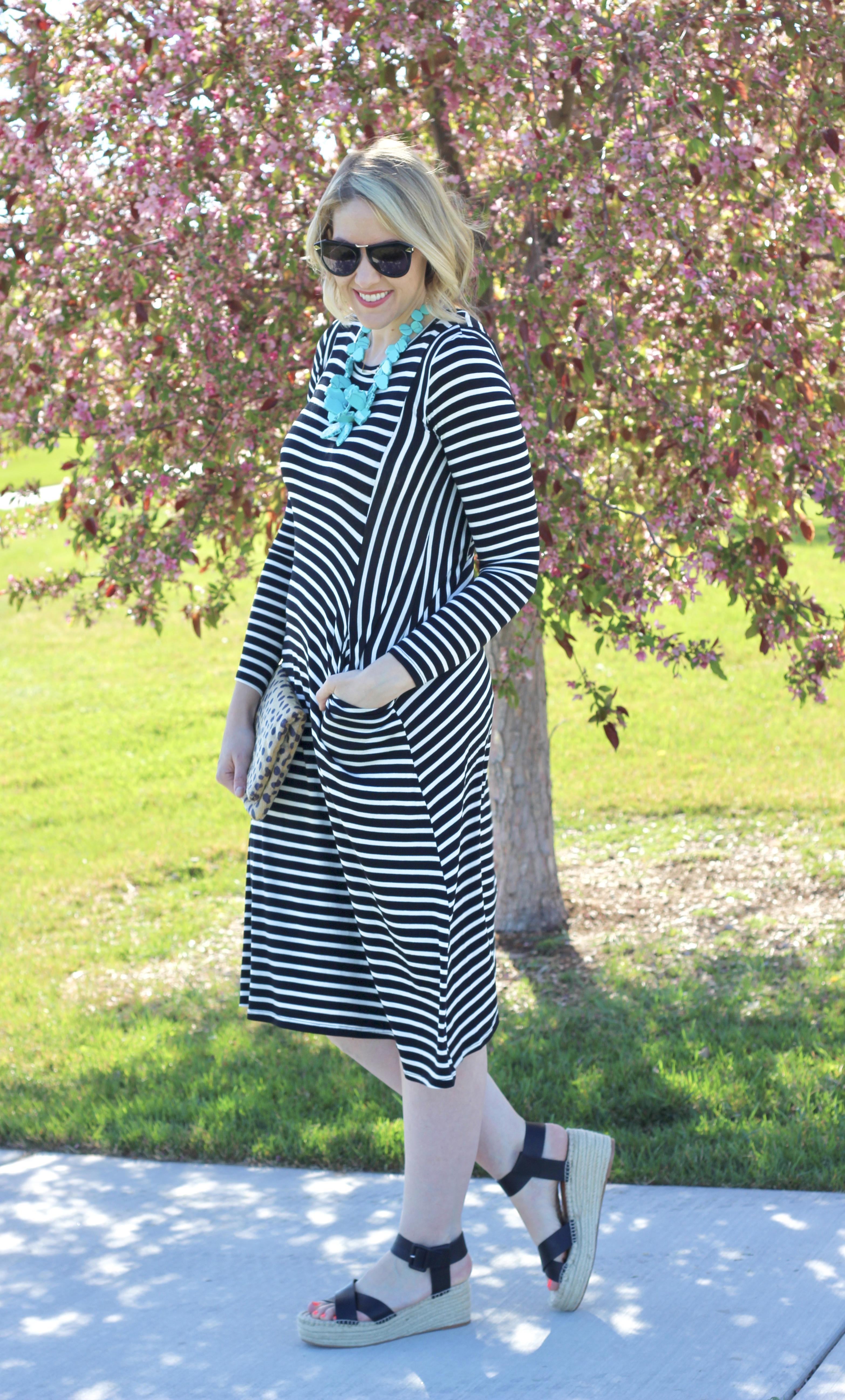 the cutest black and white striped midi dress