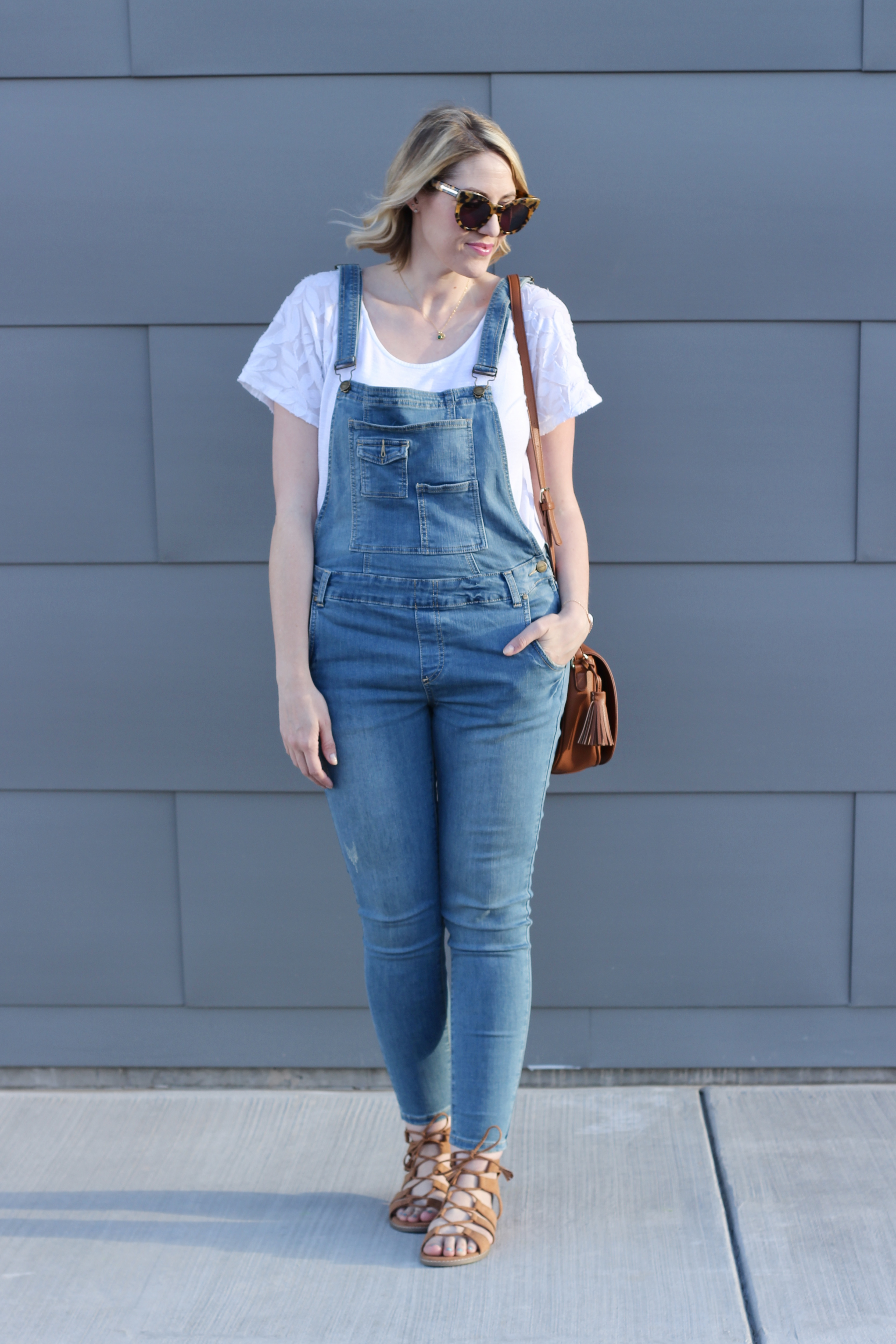 spring fashion featuring denim overalls
