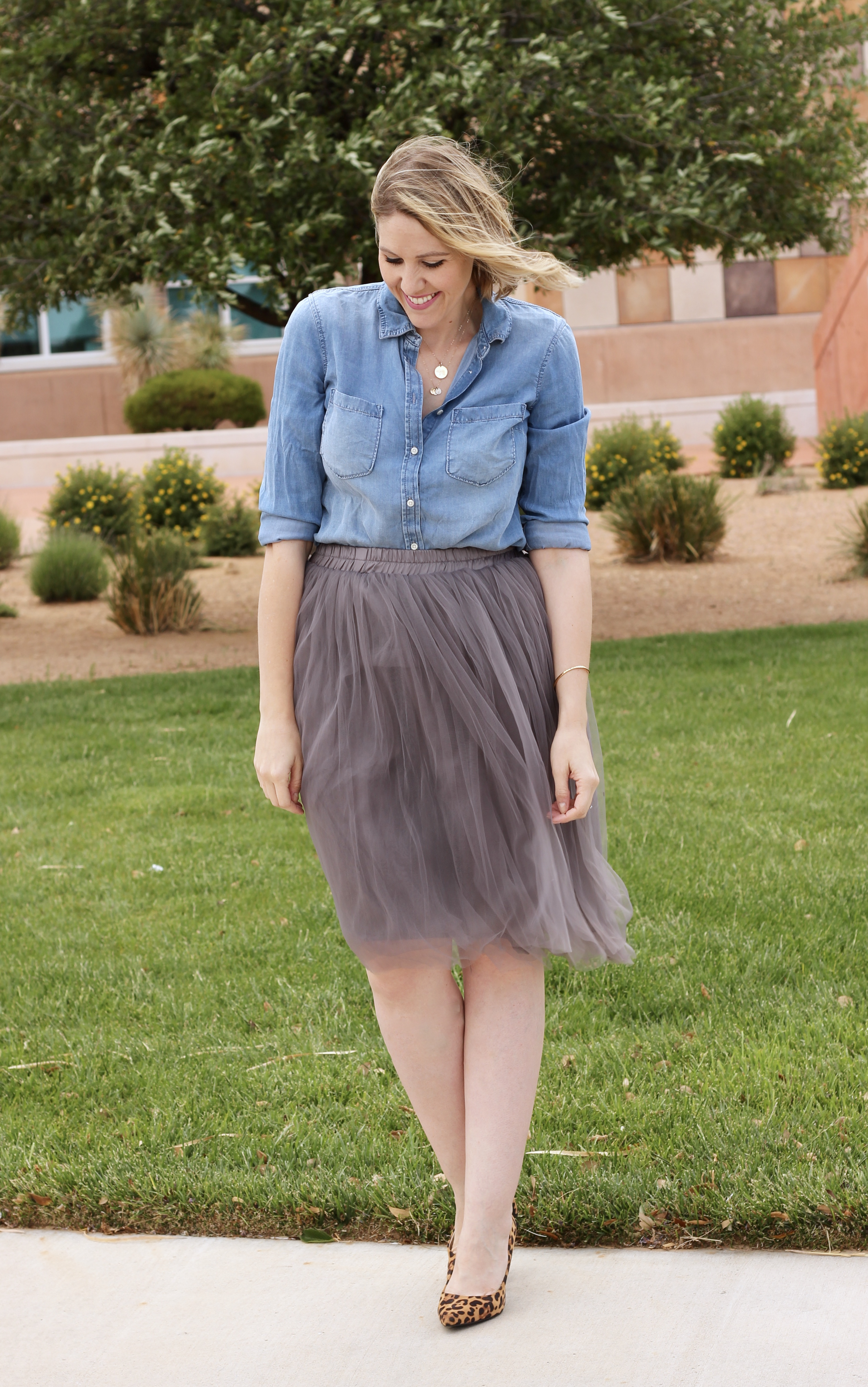 gray tulle skirt outfit