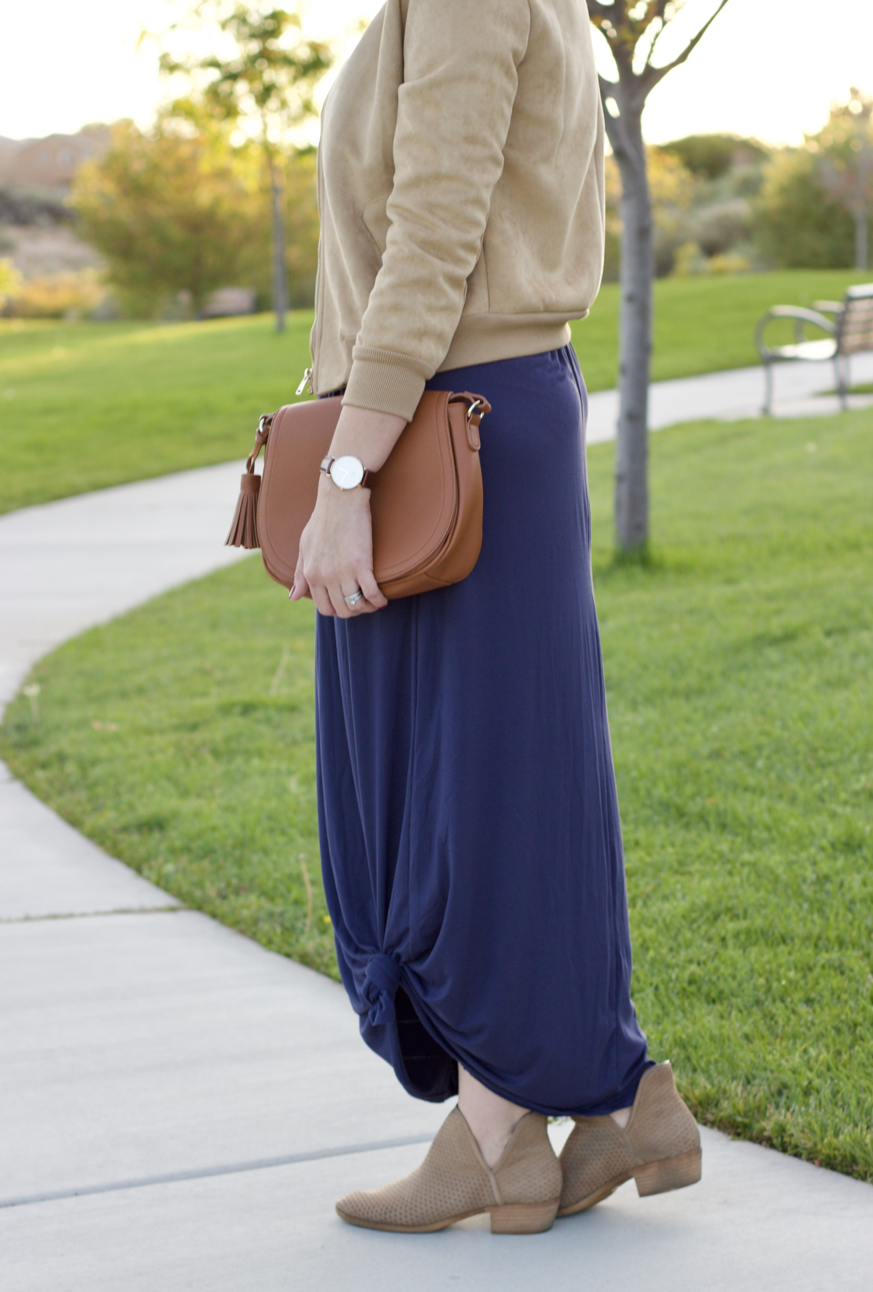 perforated booties and maxi dress