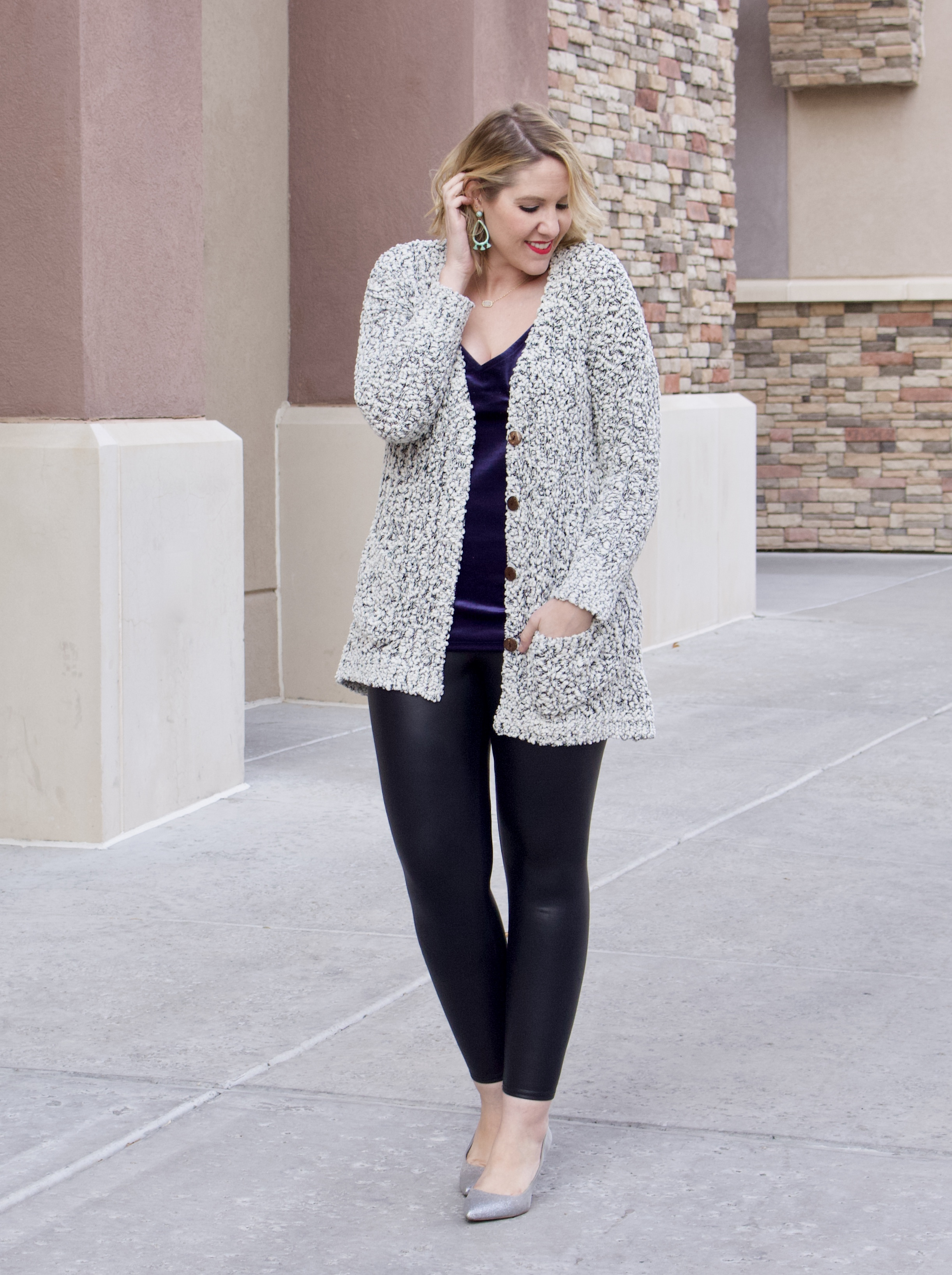 cozy cardigan velvet cami outfit