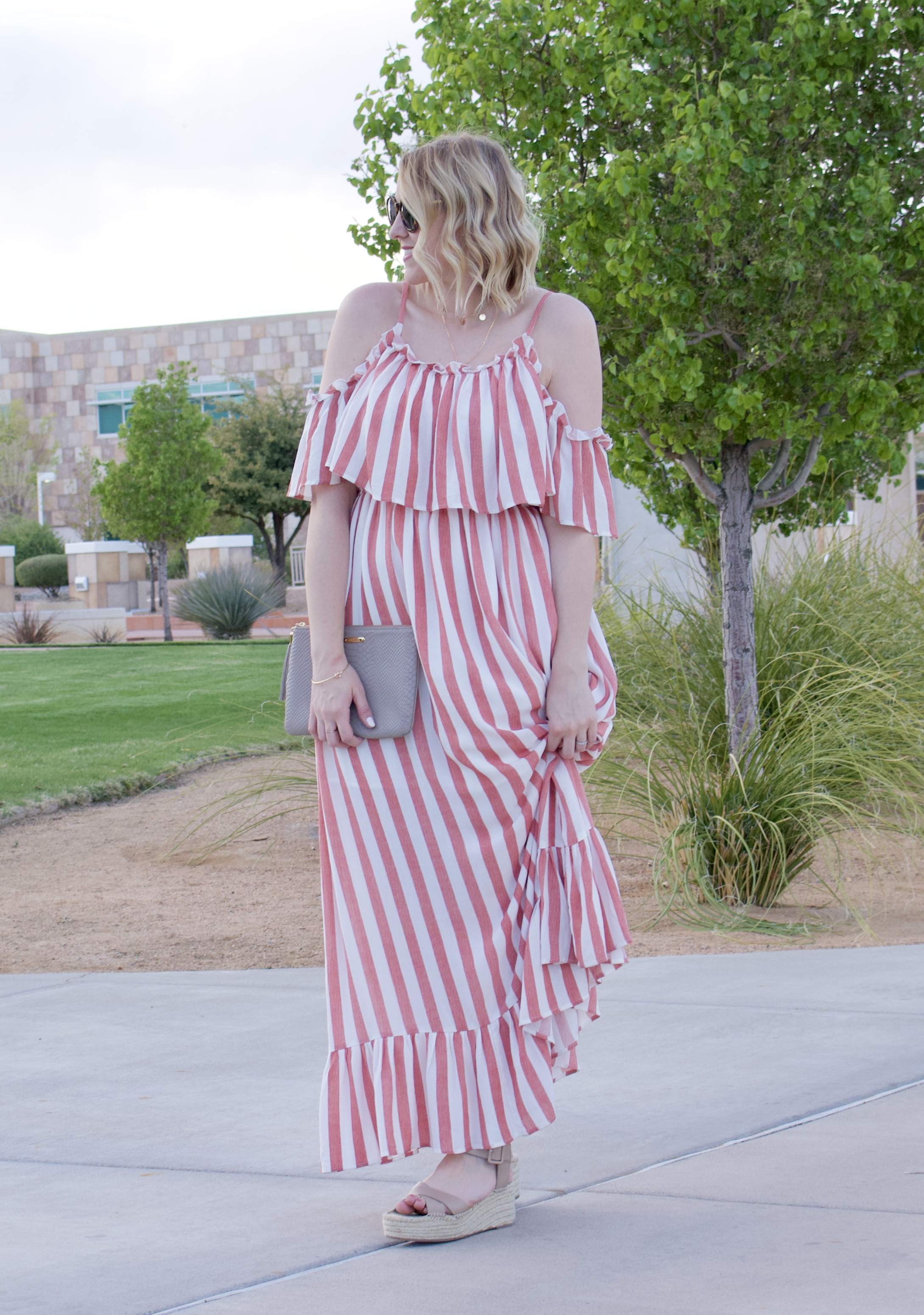 cute ruffle open shoulder maxi dress #maxidress #coldshoulderdress #stripedmaxidress #pinkblush