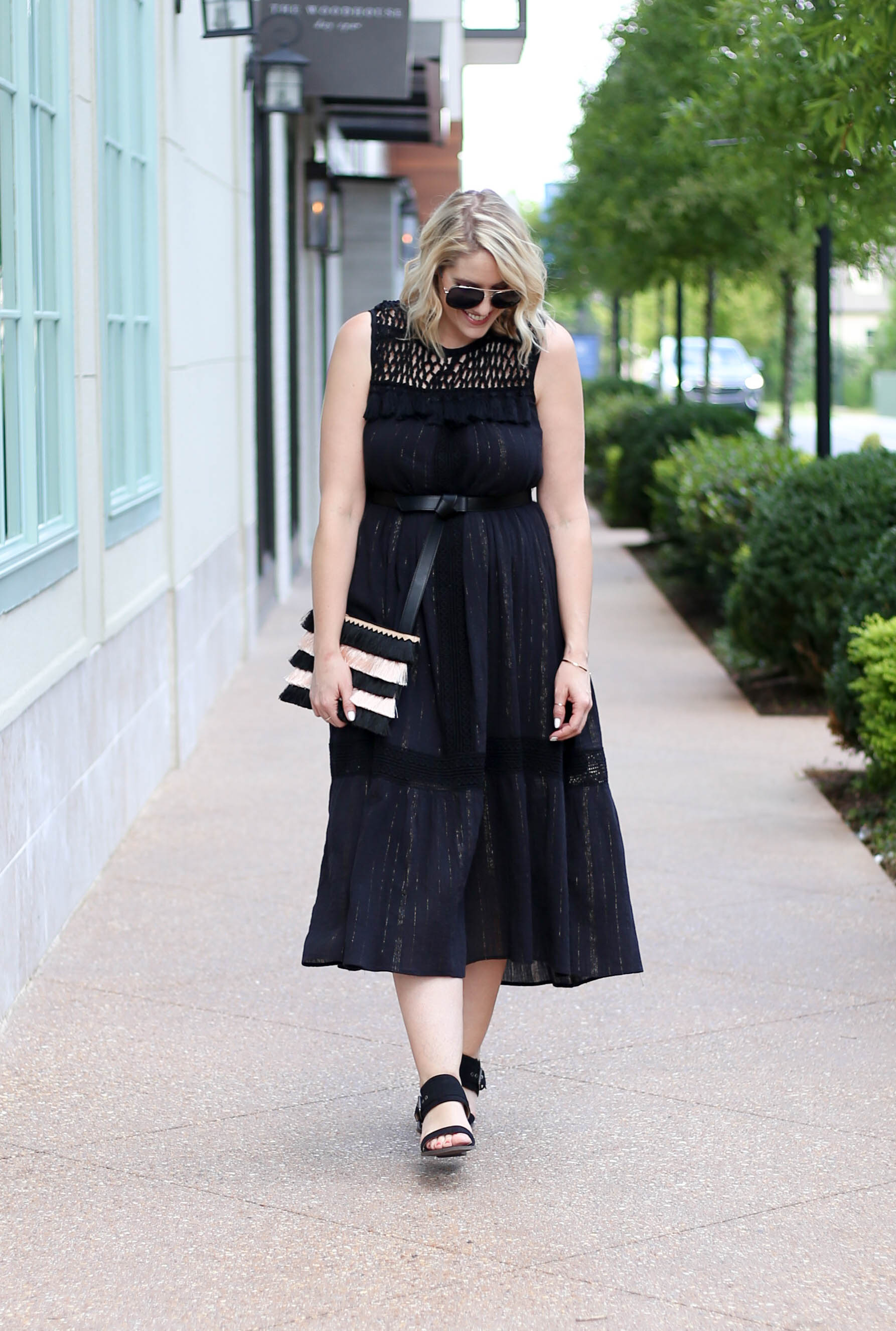black boho midi dress #anthropologie #blackdress #lbd