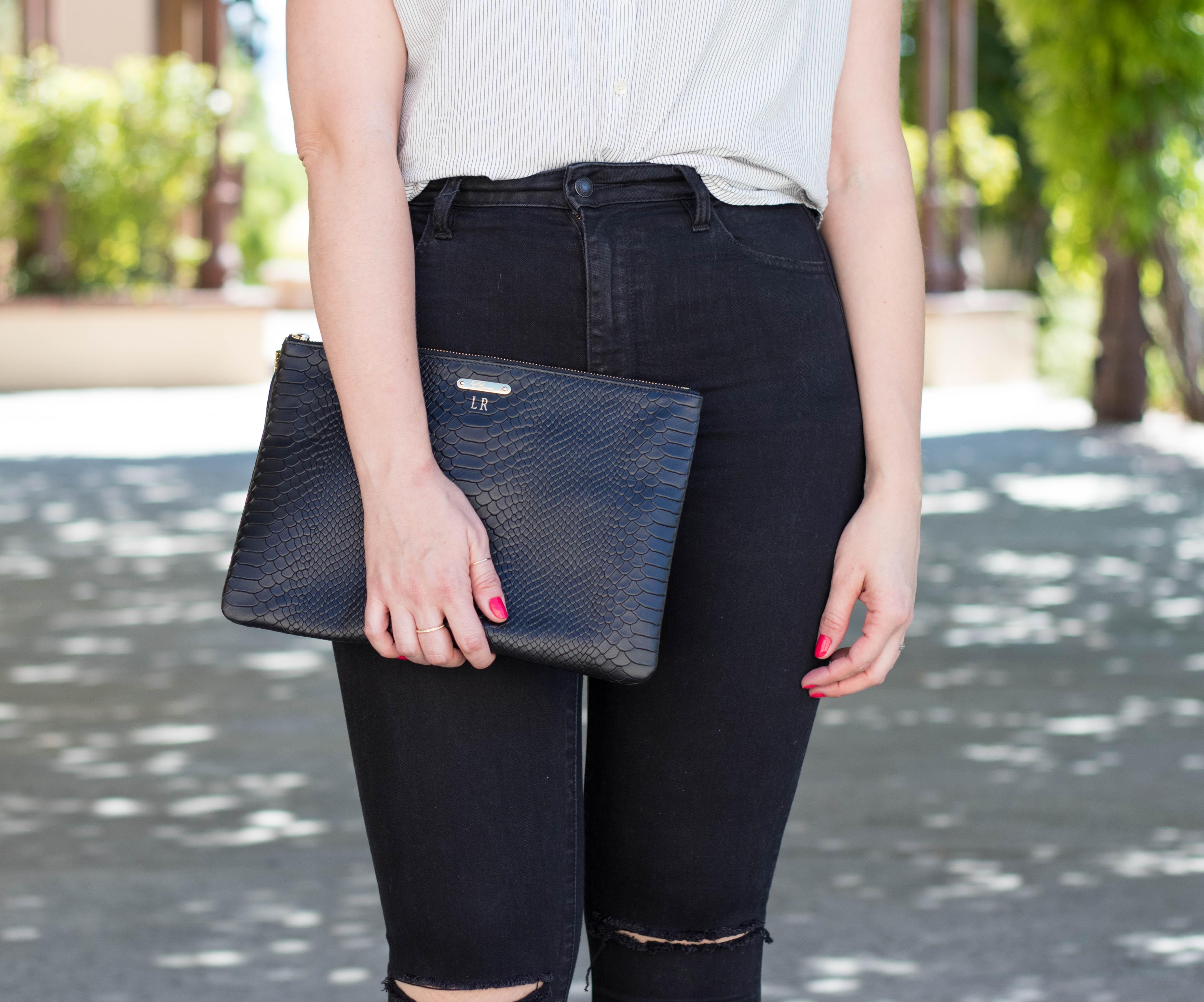 Gigi New York uber clutch #giginewyork #monogram #styleblogger