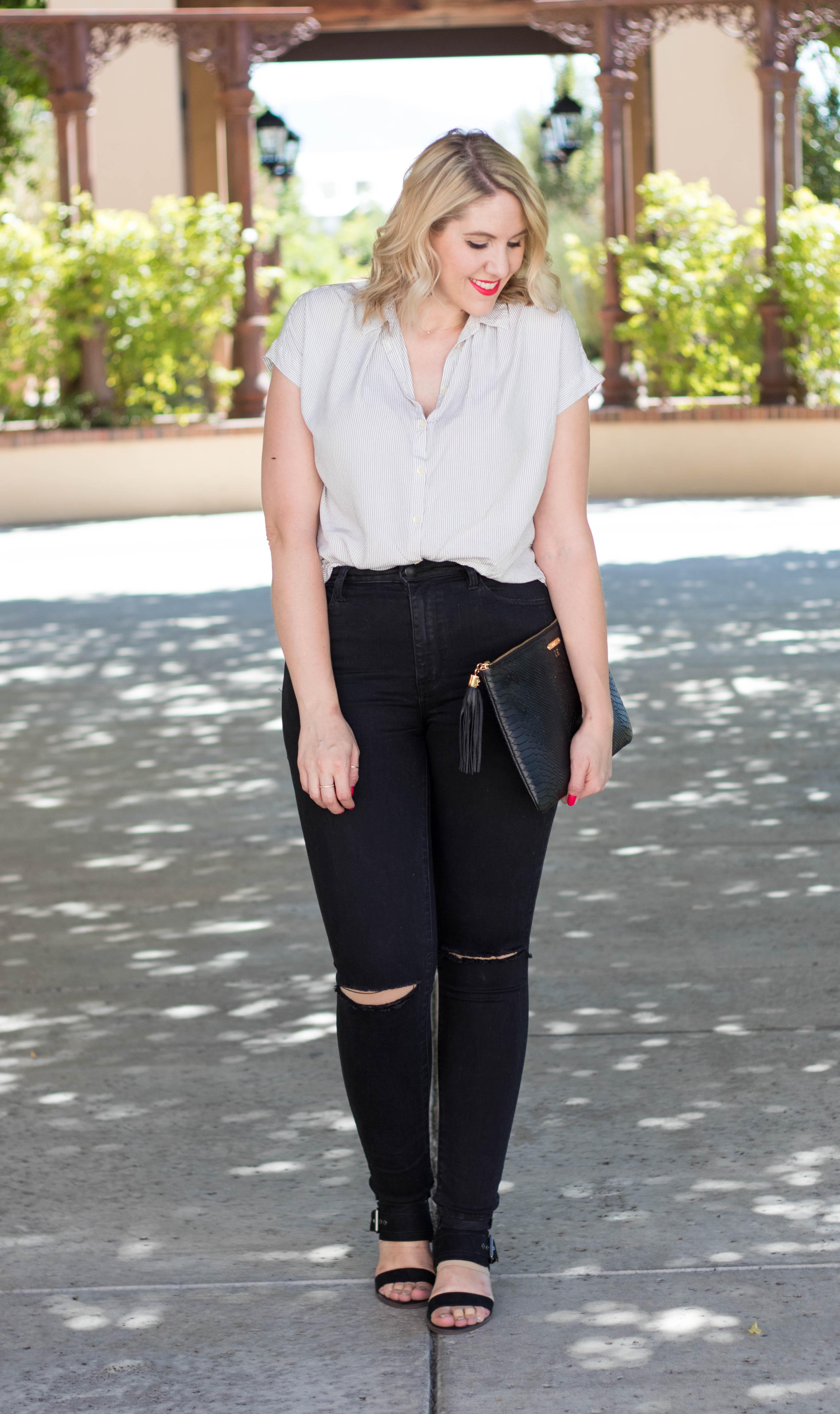 black distressed jeans for tall girls #tallfashion #blackjeans #wiw #fashionblogger