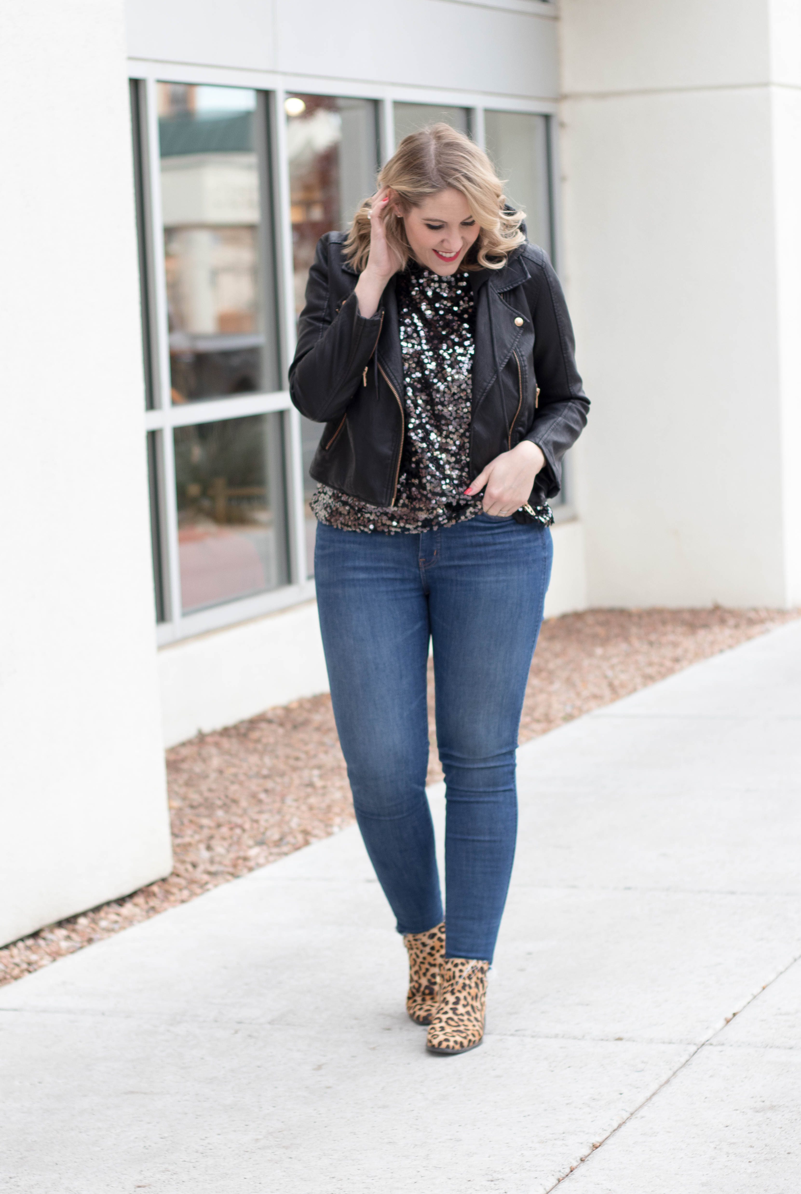 sequin top and leopard boots outfit #tallfashion #holidaystyle #everydaymadewell